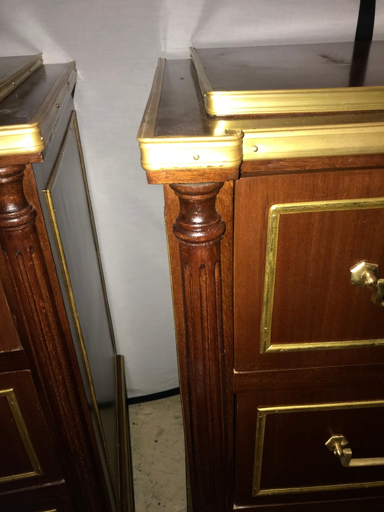 20th Century Pair of Russian Neoclassical Style Commodes / Bedside Nightstands or Servers For Sale