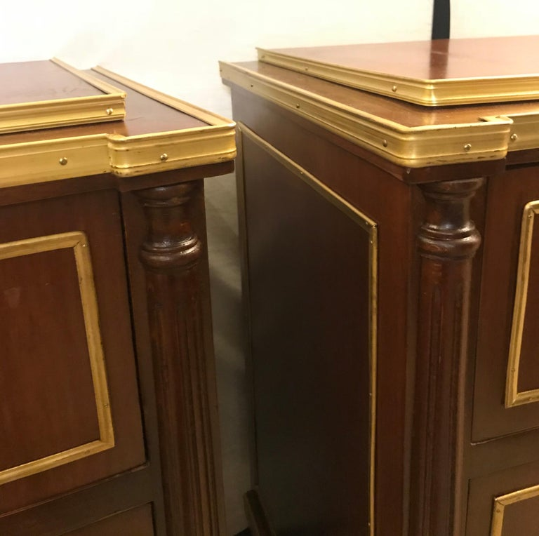 Wood Pair of Russian Neoclassical Style Commodes / Bedside Nightstands or Servers For Sale