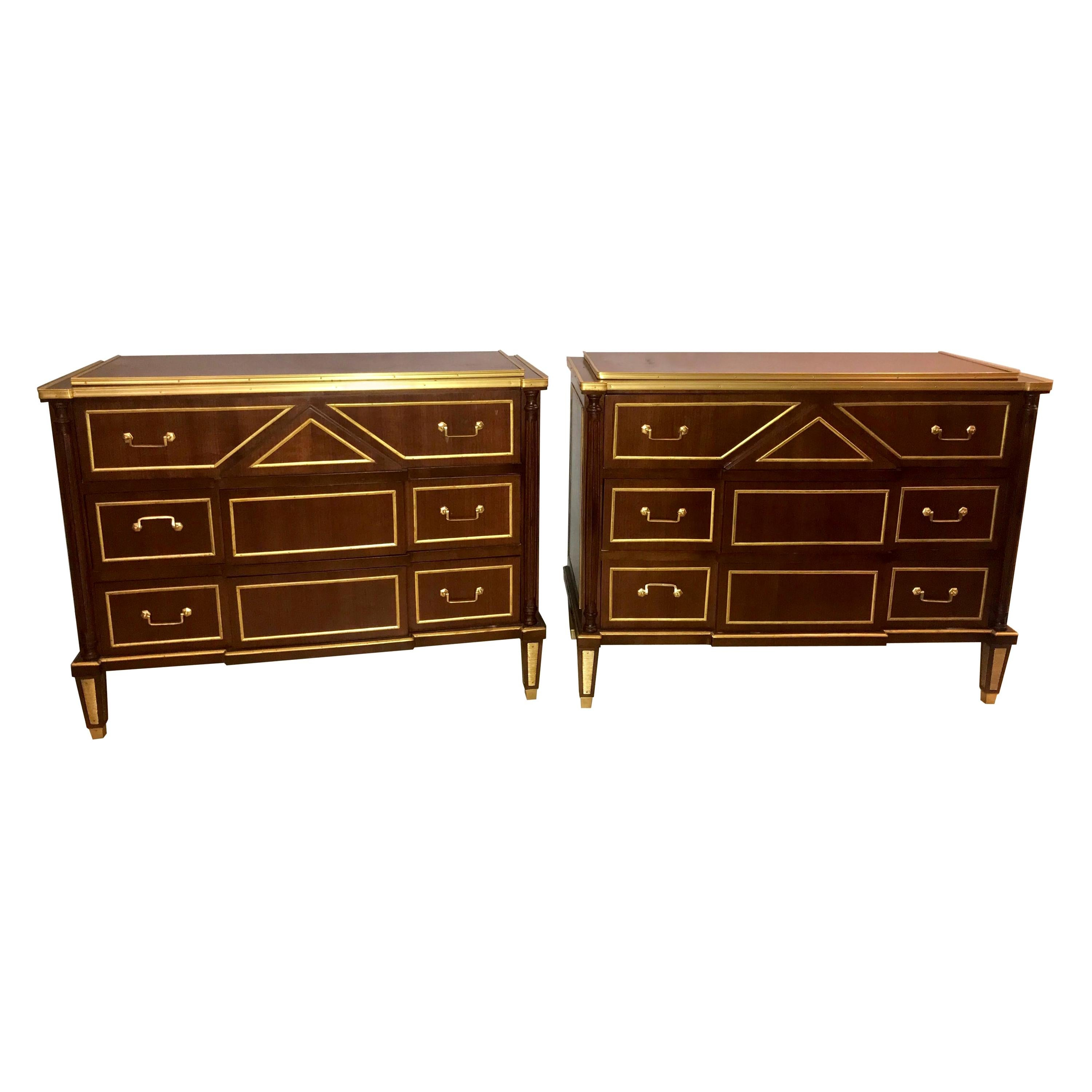 Pair of Russian Neoclassical Style Commodes / Bedside Nightstands or Servers