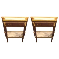 Pair of Russian Neoclassical Style Consoles/Servers or Commodes with Marble Tops