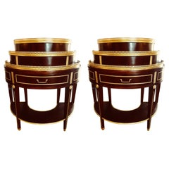 Pair of Russian Neoclassical Style Demilune End Tables or Nightstand Commodes