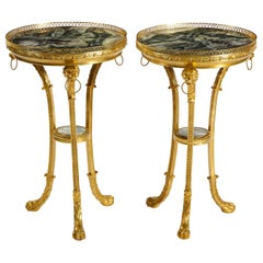 Pair of Russian Neoclassical Style Gilt Bronze and Marble-Top Guéridons