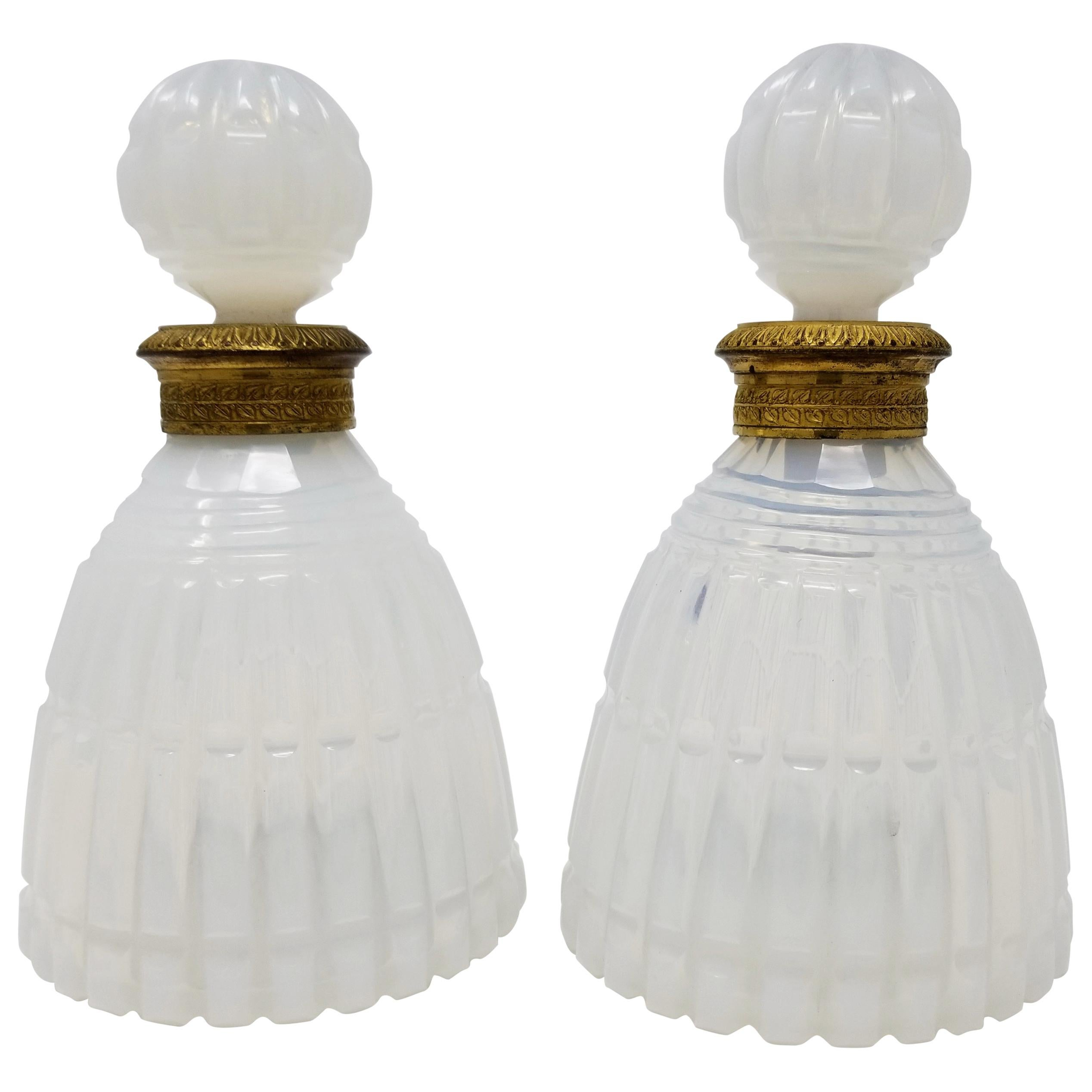 Pair of Russian Ormolu Mounted Fluted White Opaline Crystal Covered Bottles