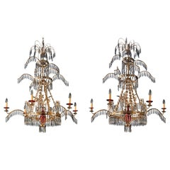 Pair of Russian Style Ormolu Red and Cut-Glass Six-Light Chandelier