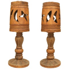 Pair of Rustic American Adirondack Style 1930s Table Lamps