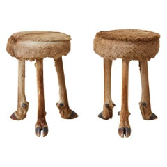 Pair of Rustic French Taxidermy Three-Leg Deer Stools
