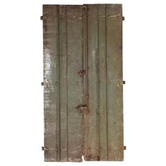 Pair of Rustic Green Painted Spanish Shutters