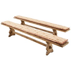 Pair of Rustic Italian Baroque Style Oak Bench Seats
