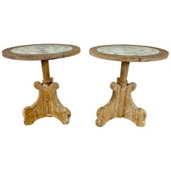 Pair of Rustic Italian Tables with Mirrored Tops