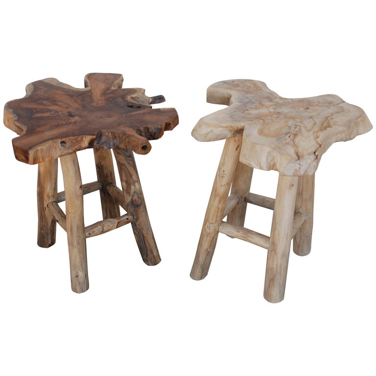 Pair of Rustic Live Edge Stools For Sale