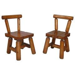 Pair of Rustic Log Chairs