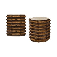 Pair of Rustic Octagonal Walnut Side Tables