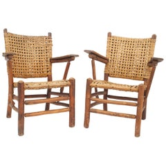 "Pair of Rustic Old Hickory ""Bear Wallow"" Armchairs"