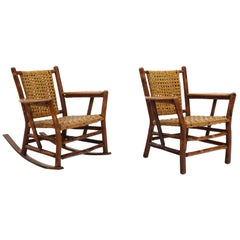 Pair of Rustic Old Hickory Chairs, One Lounge with Arms, One Rocker