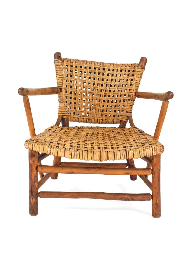 Pair Of Rustic Old Hickory Low Arm Chairs With Woven Seats And Backs See Matching
