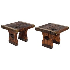 Pair of Rustic Side Tables Made of Raw Hatch-Boards