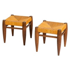 Pair of Rustic Stools in the Style of Charlotte Perriand, France, circa 1955