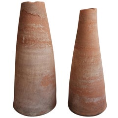 Pair of Rustic Terracotta Finials