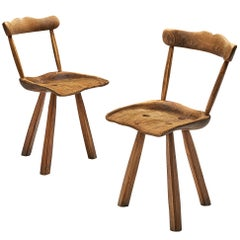 Pair of Rustic Tripod Dining Chairs in Beech and Chestnut