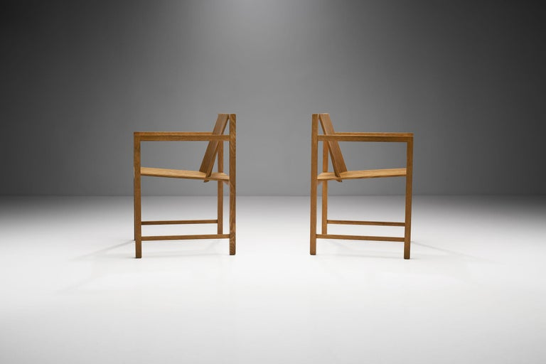 Post-Modern Pair of Ruud-Jan Kokke Slat Chairs, the Netherlands, 1986 For Sale