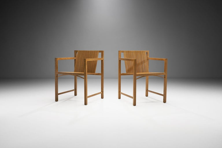 Dutch Pair of Ruud-Jan Kokke Slat Chairs, the Netherlands, 1986 For Sale