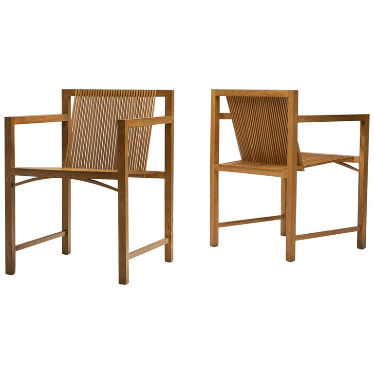 Pair of Ruud-Jan Kokke Slat Chairs, the Netherlands, 1986 For Sale
