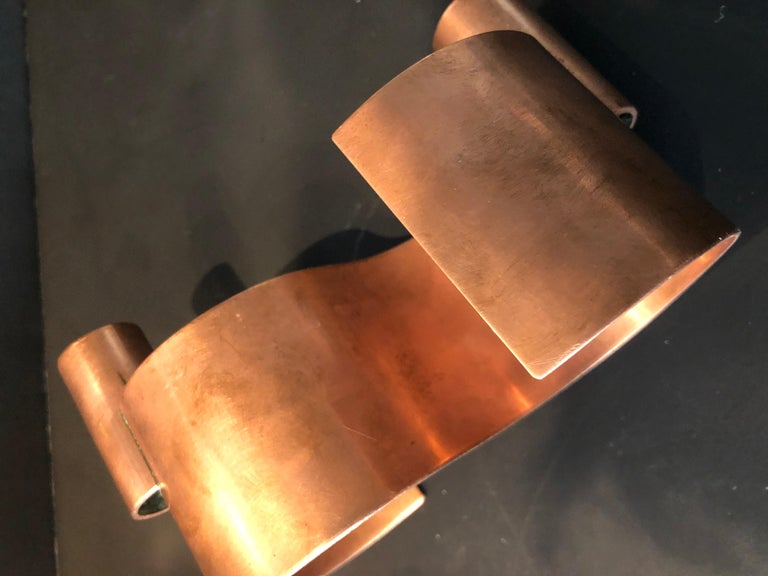 Pair of S-Form with 2 Candelabras Each Rebajes Copper Candlestick Holders For Sale 11
