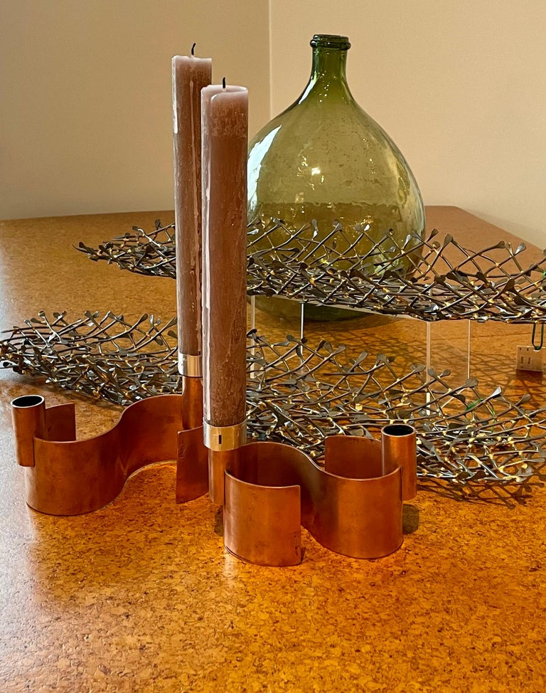 Pair of S-Form with 2 Candelabras Each Rebajes Copper Candlestick Holders For Sale 14