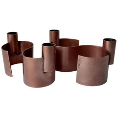 Pair of S-Form with 2 Candelabras Each Rebajes Copper Candlestick Holders
