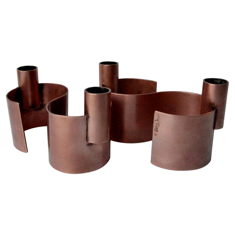 Pair of S-Form with 2 Candelabras Each Rebajes Copper Candlestick Holders For Sale