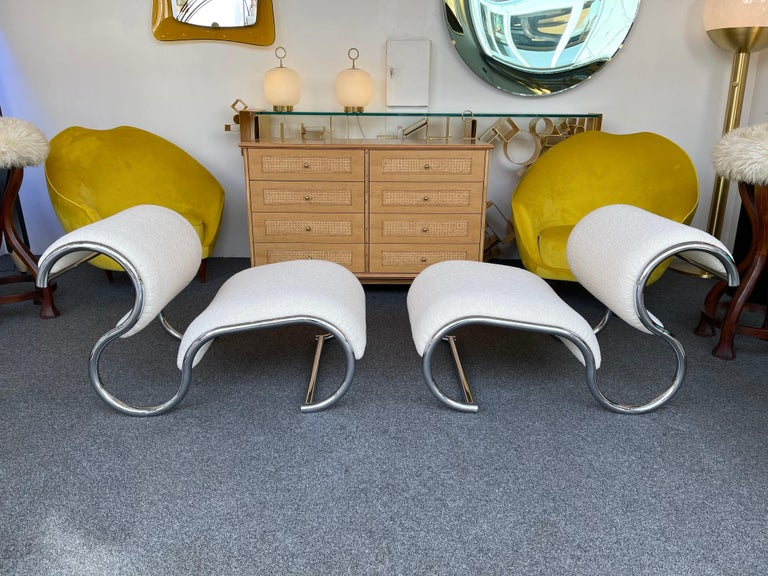 Pair of S Slipper Chairs Metal and Bouclé Fabric by IFF, Italy, 1970s 7