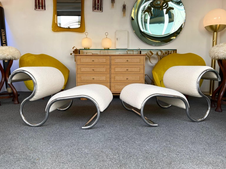 Pair of S Slipper Chairs Metal and Bouclé Fabric by IFF, Italy, 1970s 9