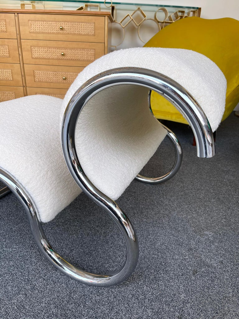 Space Age Pair of S Slipper Chairs Metal and Bouclé Fabric by IFF, Italy, 1970s