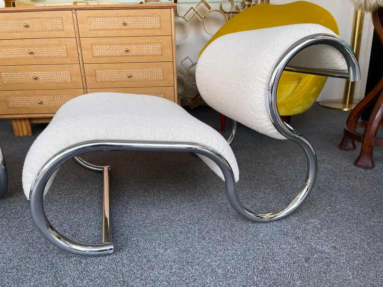 Pair of S Slipper Chairs Metal and Bouclé Fabric by IFF, Italy, 1970s In Good Condition In SAINT-OUEN, FR