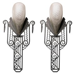 Pair of Sabino Glass and Wrought Iron Sconces, France, circa 1930