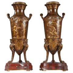 """Pair of """"Sacrifice"""" Vases by F. Barbedienne and F. Levillain"""