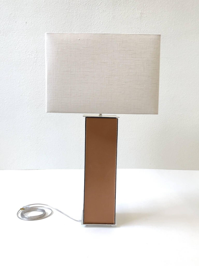 Pair of Saddle Stitch Leather Table Lamps by Laurel For Sale 4