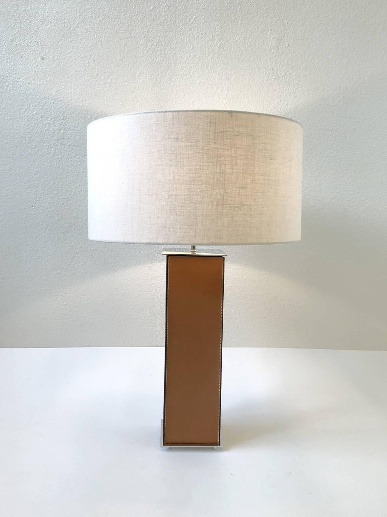 Pair of Saddle Stitch Leather Table Lamps by Laurel For Sale 5