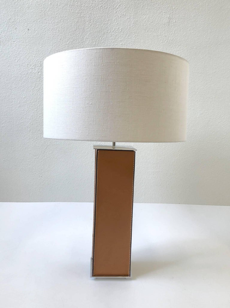 Modern Pair of Saddle Stitch Leather Table Lamps by Laurel For Sale