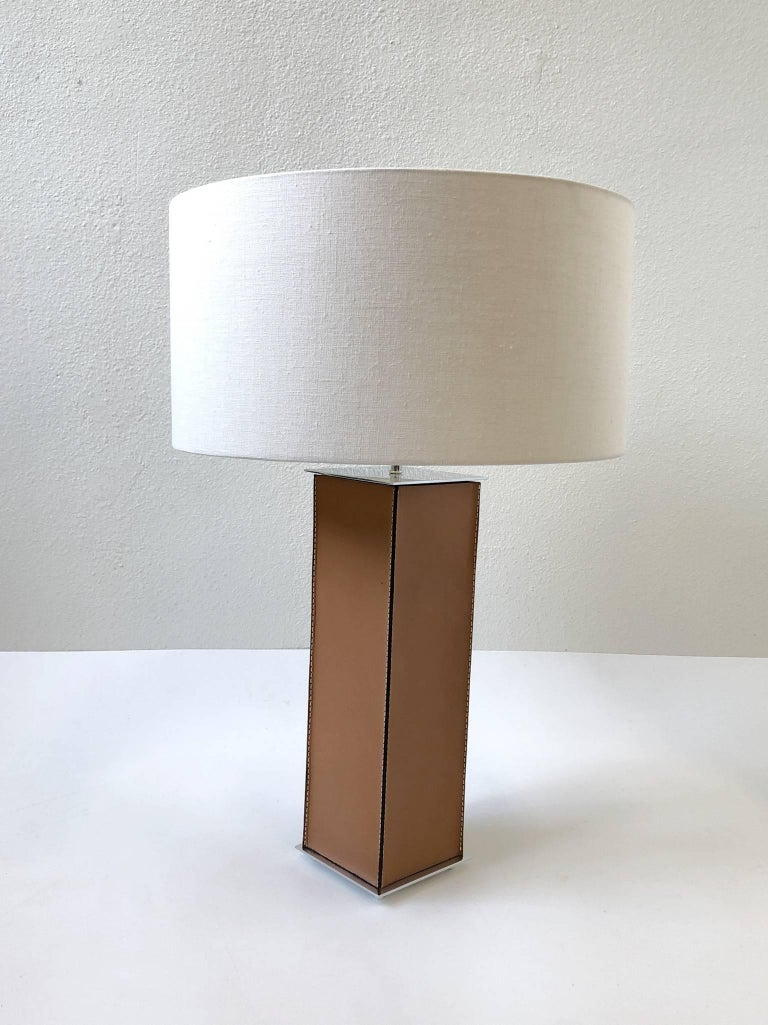 American Pair of Saddle Stitch Leather Table Lamps by Laurel For Sale