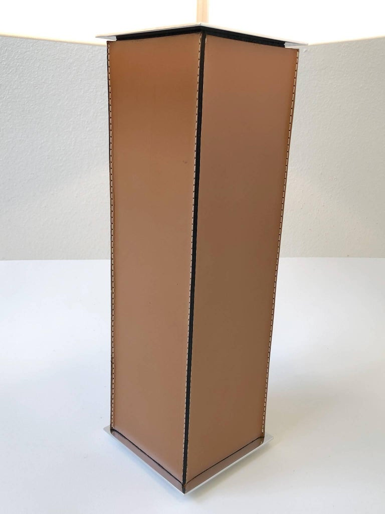 Polished Pair of Saddle Stitch Leather Table Lamps by Laurel For Sale