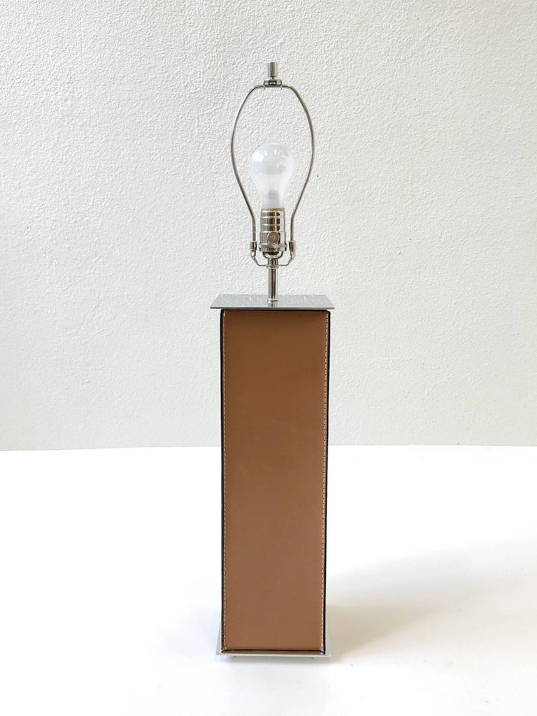 Late 20th Century Pair of Saddle Stitch Leather Table Lamps by Laurel For Sale