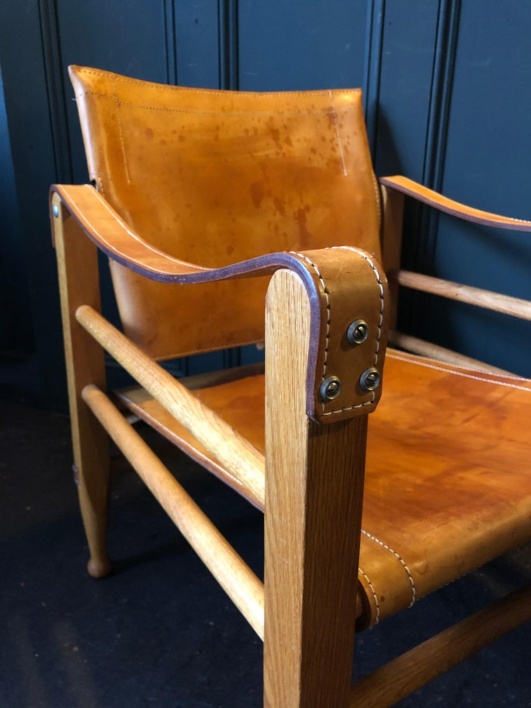 Pair of Safari Chairs and Table, Aage Bruun & Son, Børge Mogensen For Sale 5