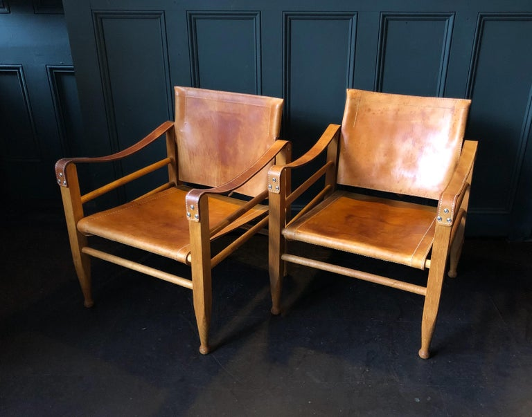 Pair of Safari Chairs and Table, Aage Bruun & Son, Børge Mogensen For Sale 6