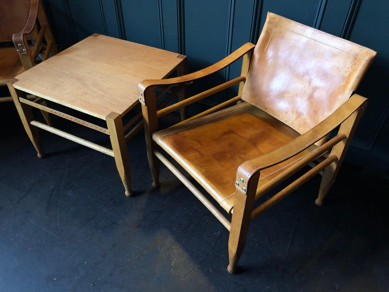 Pair of Safari Chairs and Table, Aage Bruun & Son, Børge Mogensen For Sale 7