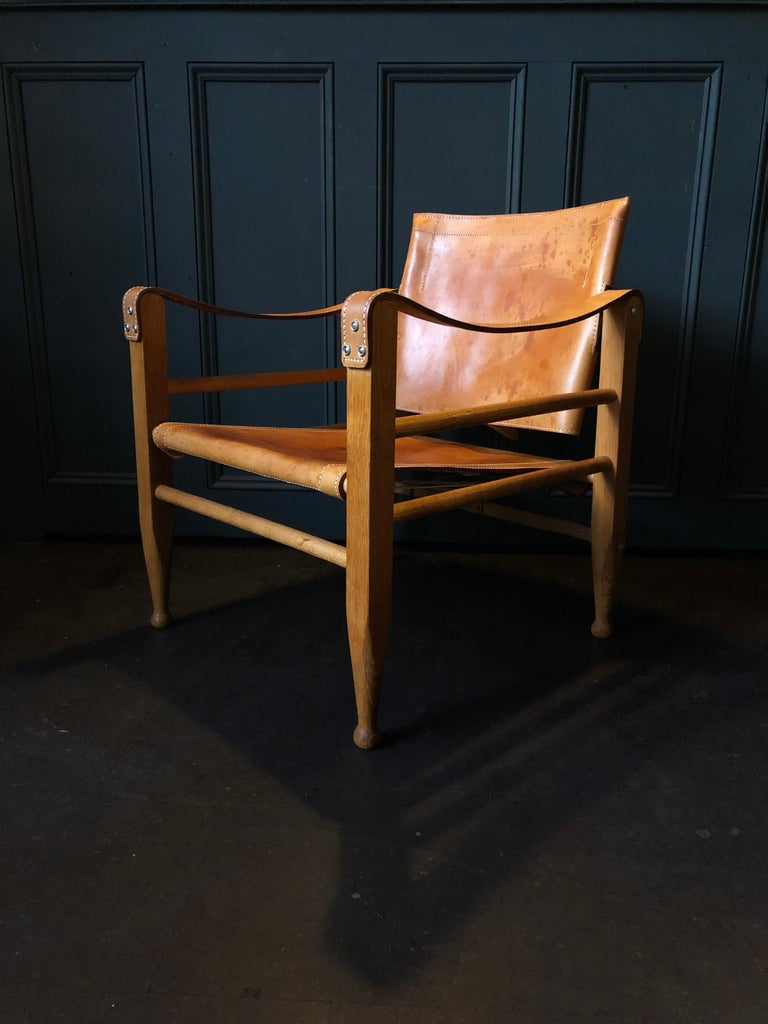 Pair of Safari Chairs and Table, Aage Bruun & Son, Børge Mogensen For Sale 1