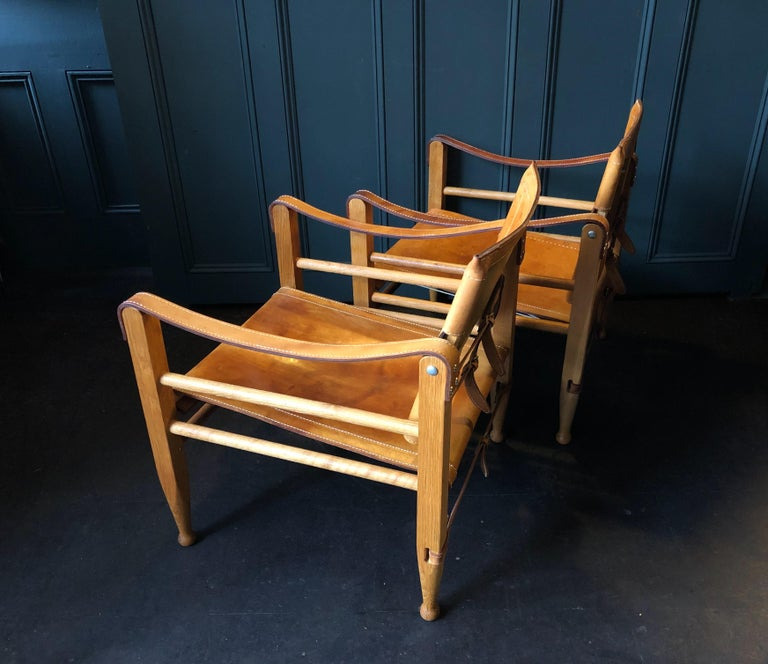 Pair of Safari Chairs and Table, Aage Bruun & Son, Børge Mogensen For Sale 2