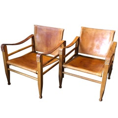 Pair of Safari Chairs and Table, Aage Bruun & Son, Børge Mogensen