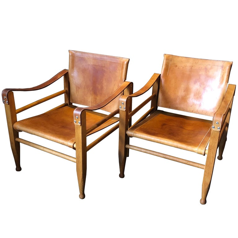 Pair of Safari Chairs and Table, Aage Bruun & Son, Børge Mogensen For Sale