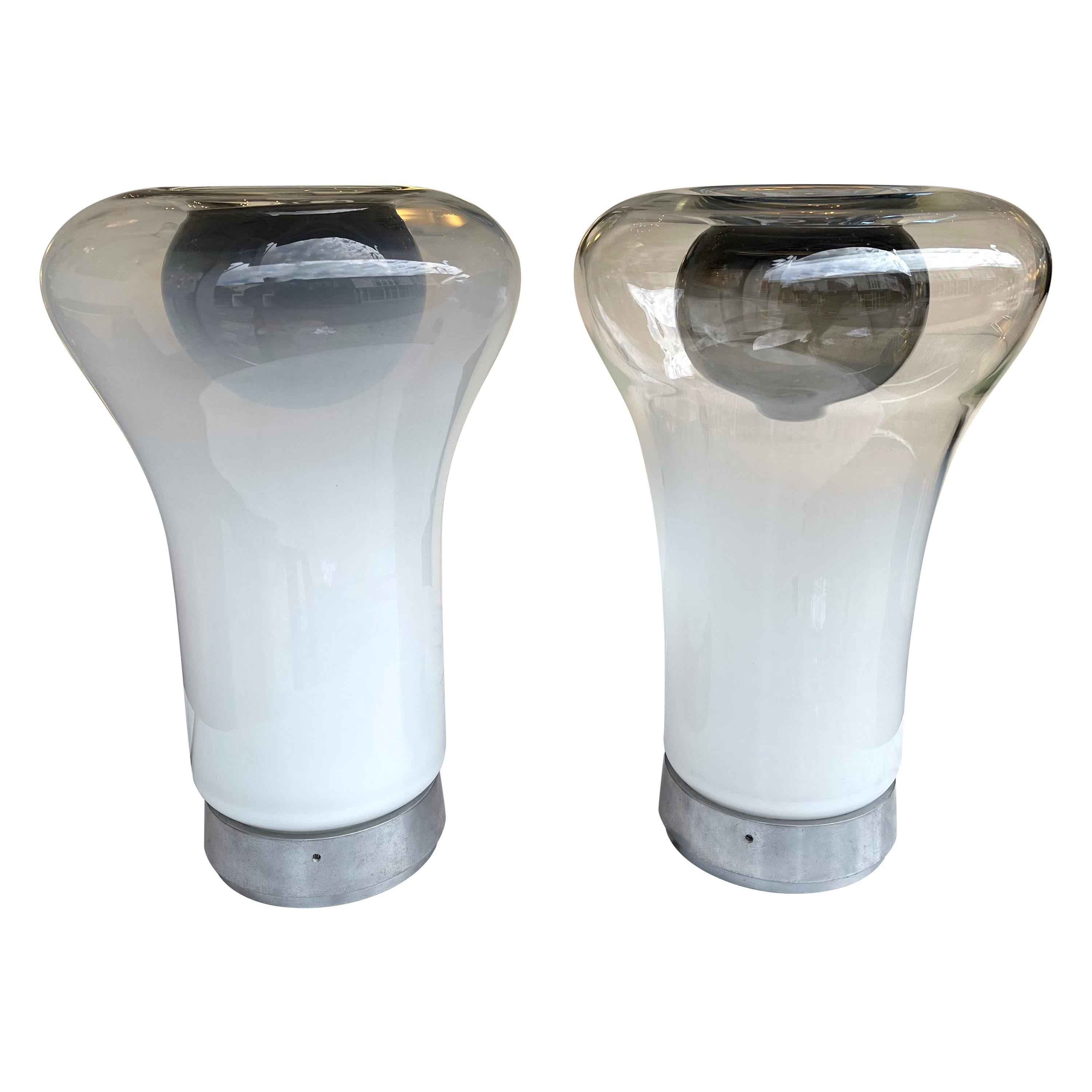 Pair of Saffo Lamps Murano Glass by Angelo Mangiarotti for Artemide, Italy, 1970